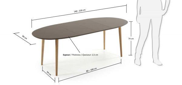 Masa extensibila NOEL BROWN 140(220)X90 cm