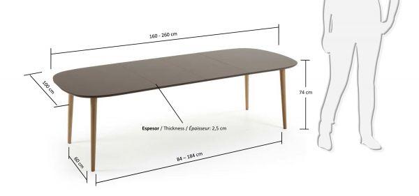 Masa extensibila NOEL BROWN 160(260)X100 cm