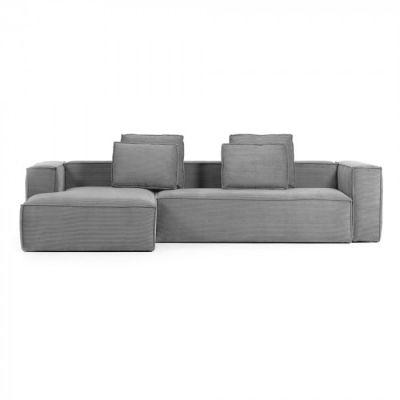 Canapea cu colț 3 locuri BLOSS VELVET GREY LEFT