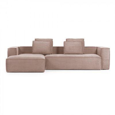 Canapea cu colț 3 locuri BLOSS VELVET PINK LEFT