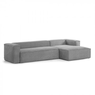 Canapea cu colț 3 locuri BLOSS VELVET GREY RIGHT