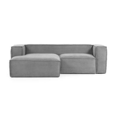 Canapea cu colț 2 locuri BLOSS VELVET GREY LEFT